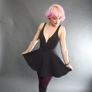 "*EXPRESS* Black Low-Cut ""Skater"" Dress"